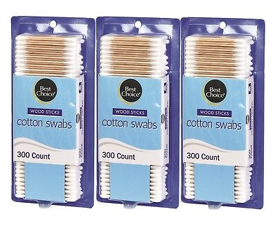 Best Choice Wood Stick Cotton Swabs 900 Count - (3 x 300 Count)