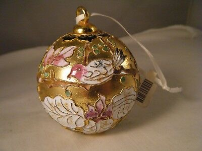 Cloisonne Ball Ornament Christmas Holiday Gold