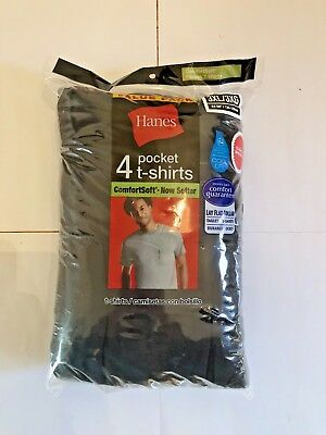 Mens Hanes Black Pocket T-Shirt 8-Pack Comfort Soft 100% Cotton!!