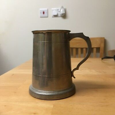 Beautiful Old English Pewter Tankard With A Glass Bottom.