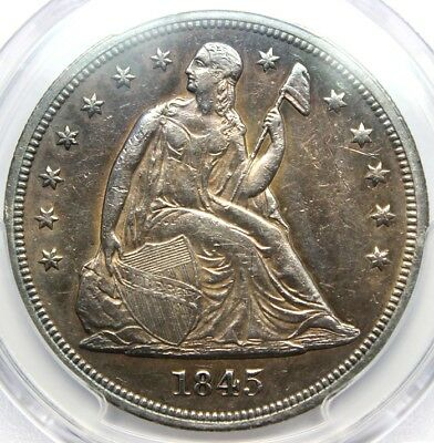 1845, $1 Seated Liberty Dollar,  Gold Shield PCGS GENUINE, Tooled XF. DETAIL,