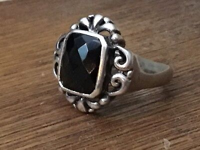 Vintage 925 sterling silver ornate Art Nouveau faceted onyx ring size 8, 6.5g