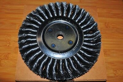 "8"" Knotted Twisted Wire Wheel Brush 3/4"" Face 5/8"" arbor Made in US"