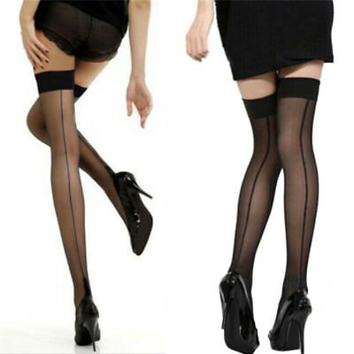Quality Girl Lady High Stockings Seamed Long Over Knee Heal Seam Thigh HighWG