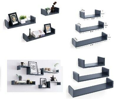 Wall Mounted Set Of 3 U Shape Floating Shelve Display Decorate Storage Shelf