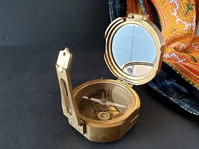 Old Brass Nautical Sine Hand Baring Compass …beautiful collection / display piec