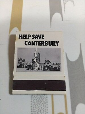 New Un-Struck Canterbury Cathedral Matchbook Help Save Canterbury Free Shipping