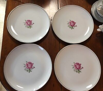 """4 Fine China Of Japan 10 1/4"""" Dinner Plates In The Imperial Rose #6702 Pattern"""