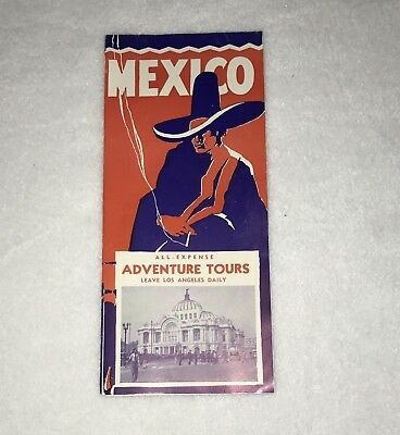 =Vintage Mexico Adventure Tours 1948 Brochure Travel Fold Out Guide