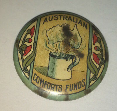 Antique Australian World War I Comforts Fund! Pinback Button! WWII Coffee Cup!
