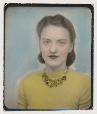 RED LIPSTICK WOMAN COIFFED HAIR gold NECKLACE vtg COLOR TINTED PHOTOBOOTH photo