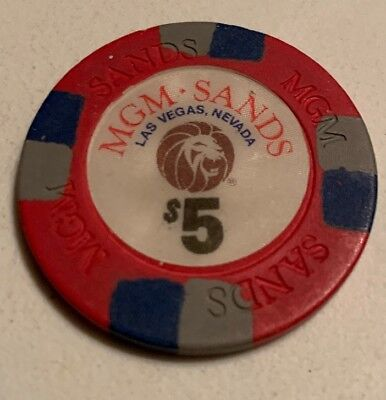 MGM Sands $5 Casino Chip Las Vegas Nevada 2.99 Shipping