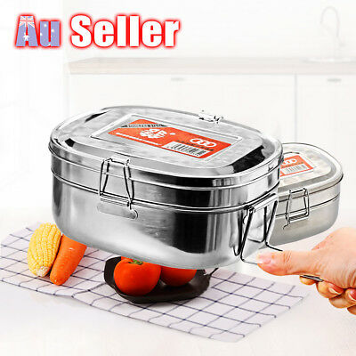 Double layer Stainless Steel Container Bento Food Picnic Lunch Box Case