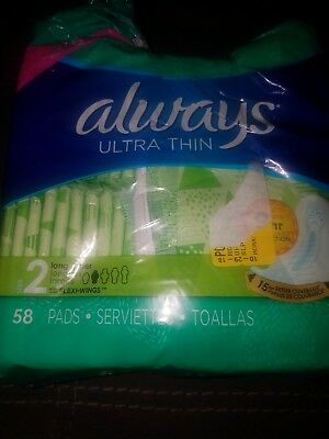 Always Ultra Thin Super Pads With Wings (Size 2) 58 ct. - Torn Packaging