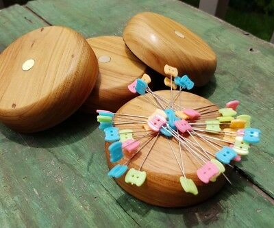 Handmade Natural Wood Compact Magnetic Pin Cushion Holder - Harmless Arms