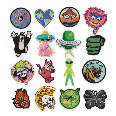 Outer Space Alien Embroidered Sew On Iron On Badge Patch Fabric Craft Transfer