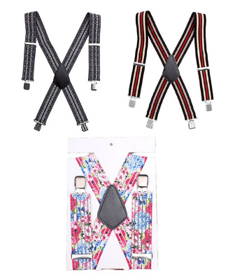 Heavy Duty Mens BRACES SUSPENDER ELASTIC 50mm WIDE Strong Metal Clips UK