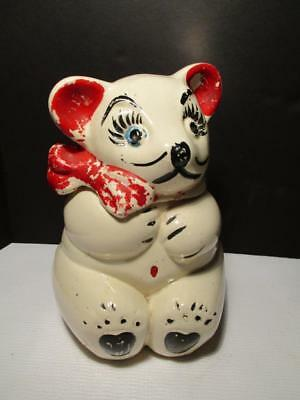 "Vintage Cute Teddy-Bear-Cookie-Jar-American-Bisque-Apco Usa 11"" H Vgc!!!"