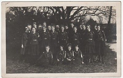 RARE Real Photo - Girl Scouts 1920 Denmark - Schleswig RPPC Group in Uniform