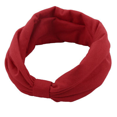 Women Twisted Knotted Turban Hairdressing Hair Band Head Wrap Headband Decor Red
