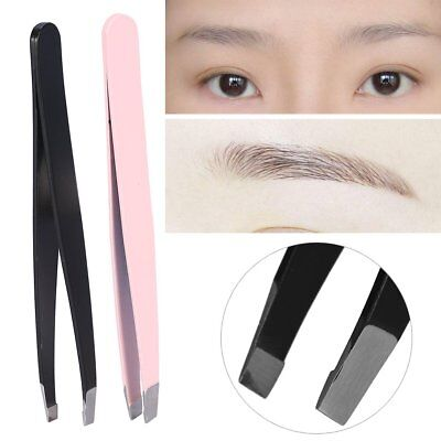2 x Slanted Stainless Steel Eyebrow Tweezers Face Hair Removal Clips Beauty Tool