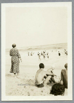 #757 A Stand-Out at the Beach, Woman, Shirtless Man, Vintage 1936 Photo