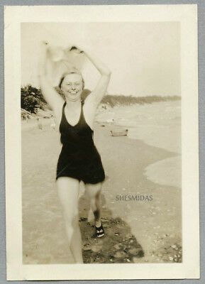 #758 Making Like a Sail at the Beach, Swimsuit Woman on the Run, Vintage Photo
