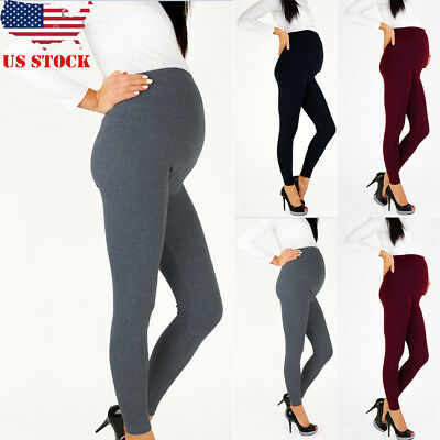 Women's Thick Full Length Maternity Cotton Leggings Comfort Warm Pregnancy Pants