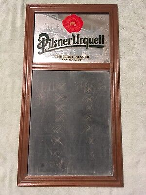 "Pilsner Urquell Beer Mirror Board Bar Pub Man Cave Sign  31"" by 16.5"" Wood Frame"