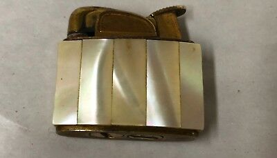 Vintage Evans Mother of Pearl and Gold Tone Lighter Mint Condition