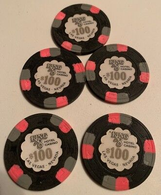 King 8 $100 LOT OF 5 Casino Chips Las Vegas Nevada 2.99 Shipping