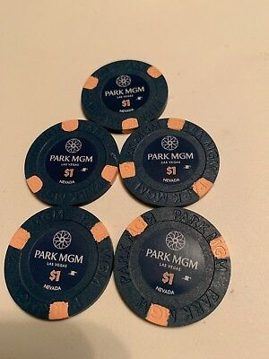 PARK MGM $1 LOT OF 5 Casino Chips Las Vegas Nevada 2.99 Shipping