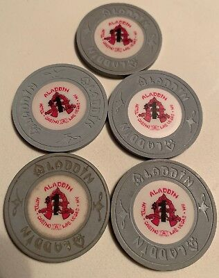 Aladdin $1 LOT OF 5 Casino Chips Las Vegas Nevada 2.99 Shipping