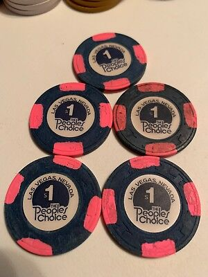 THE PEOPLES CHOICE $1 LOT OF 5 Casino Chips Las Vegas Nevada 2.99 Shipping