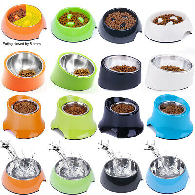 Dog Bowl Slow Feed Raised Bowls Stainless Steel Cat Dish 15 Degree Title Feeder