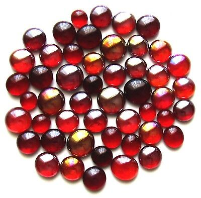 50 x Shades of Red Berries Mosaic Art Glass Pebble Gem Stones - Assorted Sizes