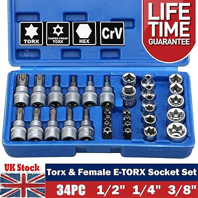 "34Pc Torx Star Sockets And Bit Set Female E-Torx Security Bits 1/4"" 3/8"" & 1/2"""