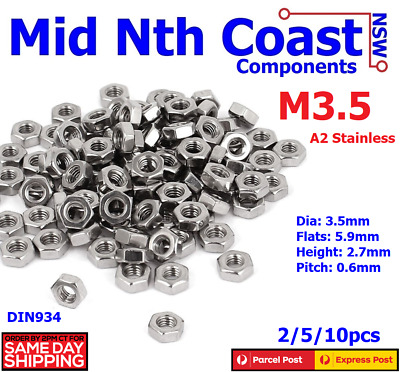 M3.5 (3.5mm) A2 Stainless Steel Standard Full Hex Nuts 0.6 Pitch DIN934