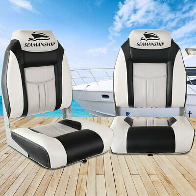 Seamanship Set of 2 Folding Swivel Boat Seats Grey Black All Weather High Back