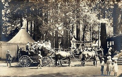 The Finest Yosemite Real Photo Postcard. . .Camp Curry. . Stage. . David Curry!