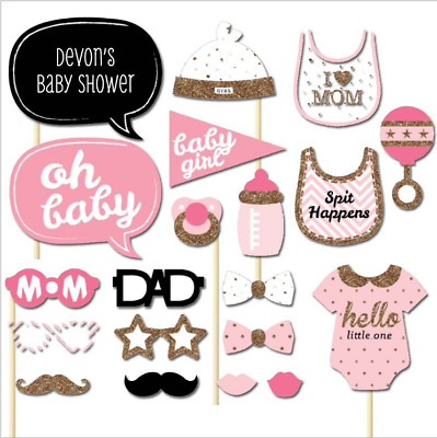 20 Baby Shower Girl Photo Booth Props Little Lady Selfie New Born Party Decor UK