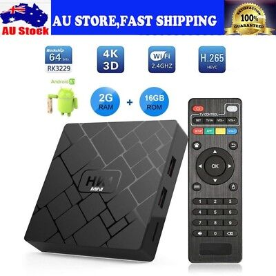 4K Network WiFi Set-top Box Smart TV Media Player Android 8.1 Quad-core 2G+16G