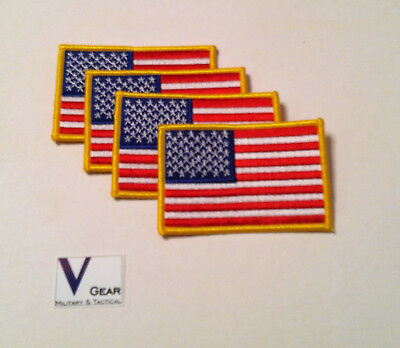 """USA US American Flag Uniform Patch  GOLD 3.5"""" x 2.25"""" LOT of 4"""