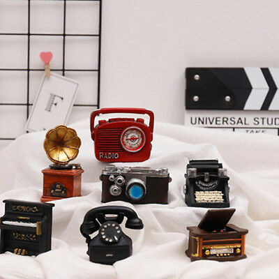 Vintage Old Resin Mini Piano Phonograph Camera Small Desk Accessories Decor LH