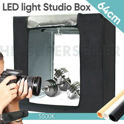 64CM LED Light Tent Photography Studio Lighting Room Photo Box W/ 3x Backdrops