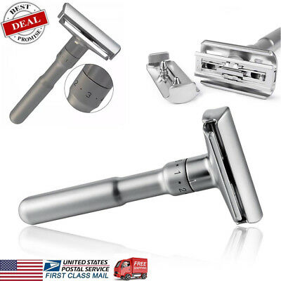 Adjustable Double Edge Shaving Safety Razor Shaver Blades Zinc US