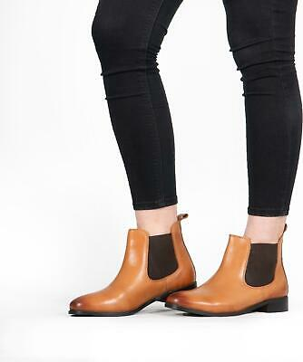 Shuperb PIPPA Ladies Womens Soft Leather Pull On Chelsea Ankle Boots Tan
