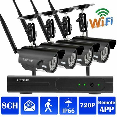 1080p 8CH WiFi NVR 4 Wireless 720P IP Video Camera Home Security System Black MA