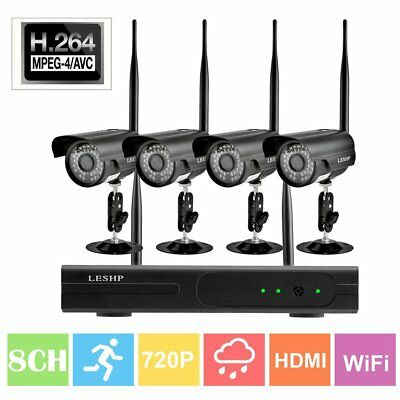1080P 8CH HDMI NVR 4x 720P Wireless Home Video Security Camera System NO HDD MA