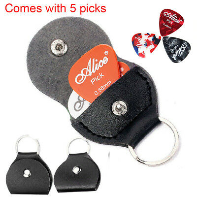 5pcs ALICE Guitar Plectrums Picks and one PU Leather Case Holder Keyring Bag